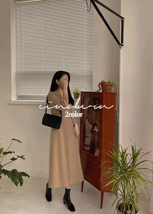 Sinoban Collar Neck Button Long Dress