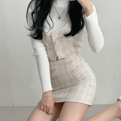 Glam Tweed Bustier Skirt Two Piece Set
