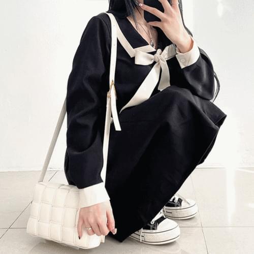 Sailor Ribbon Color Long Dress 3color