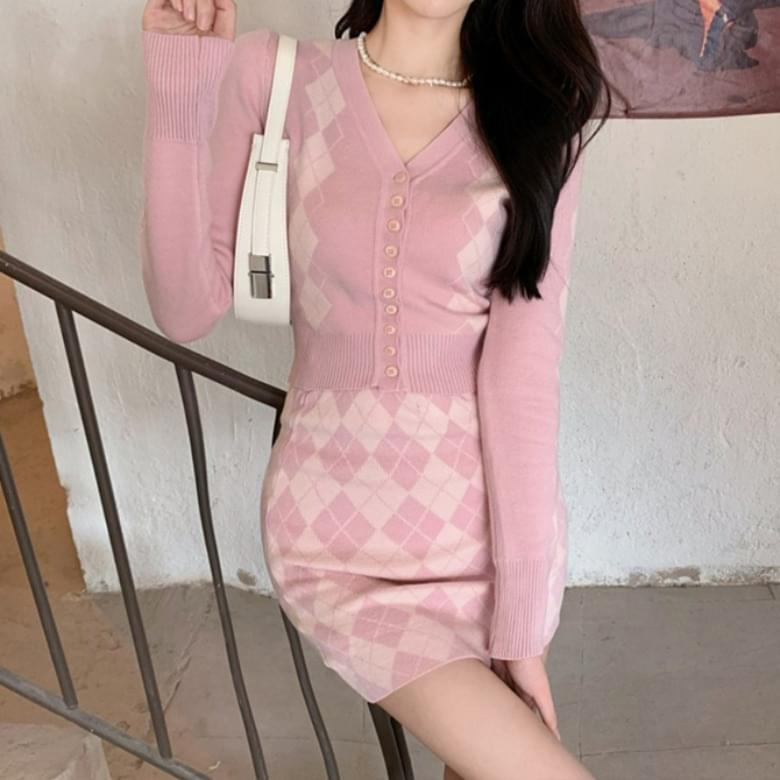 Furing Sweety Pink Argyle Two Piece