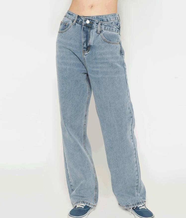 Asymmetrical Waist Wide-Leg Denim Pants