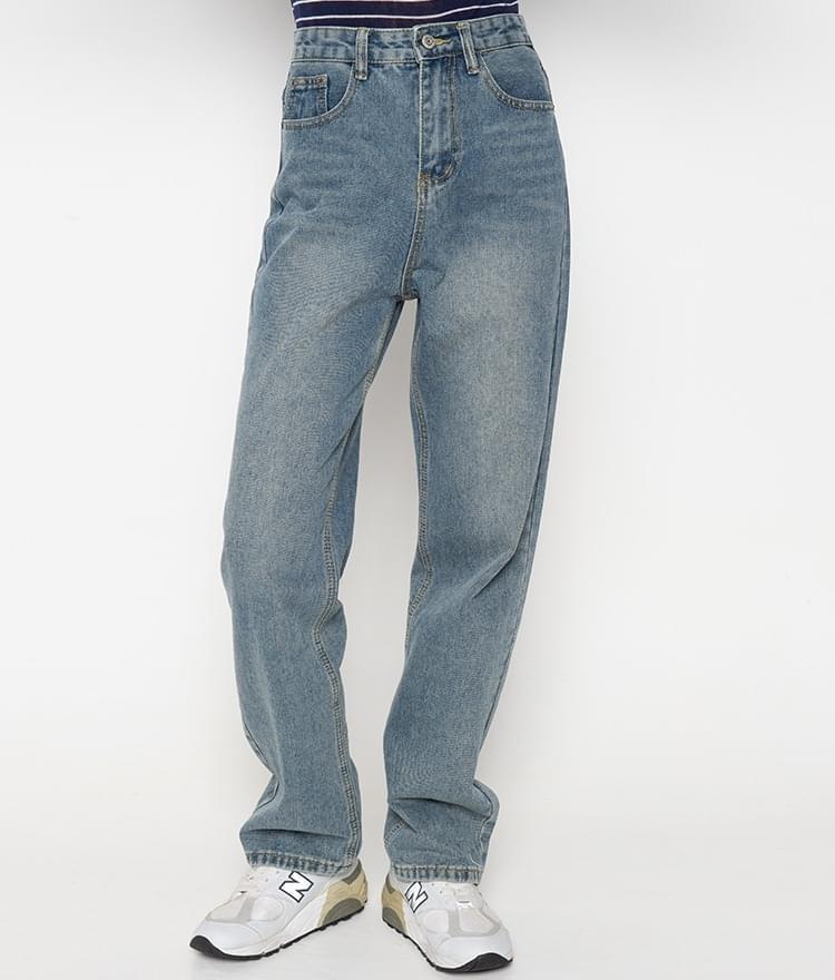 Wide-Leg Faded Blue Jeans