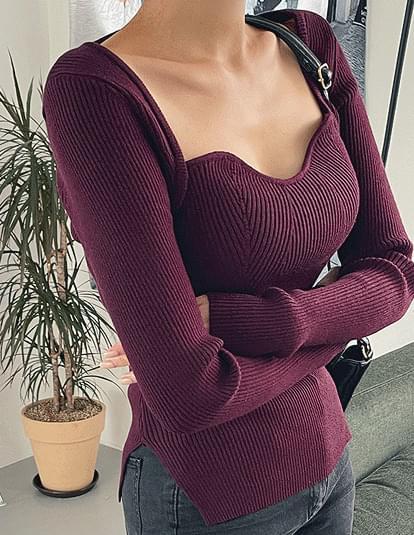 Heart Square Neck Bolero Knitwear