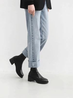 Round nose back zip middle heel ankle Socks boots 9178