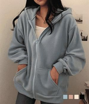 Soft Fleece-lined overfit hooded zip-up