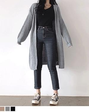 Desong Sleeve Balloon Knitwear Long Cardigan