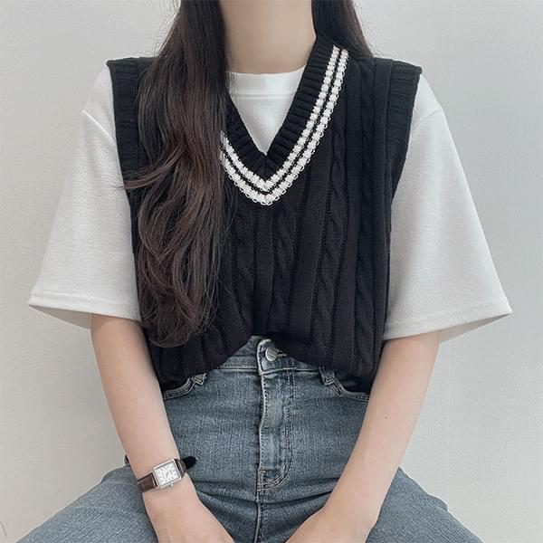 Lorna Color Twisted V-Neck Knitwear Best Vest