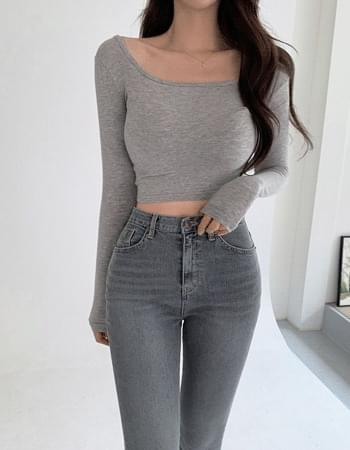 Cove Slim Fit Square Neck Long Sleeve Crop T-shirt