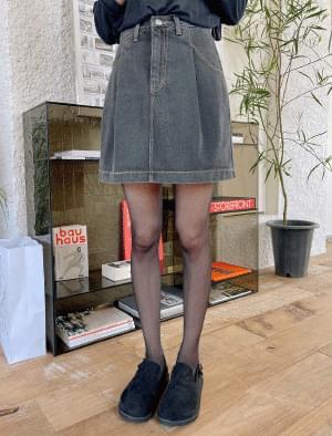 Mark Pintuck Denim Skirt