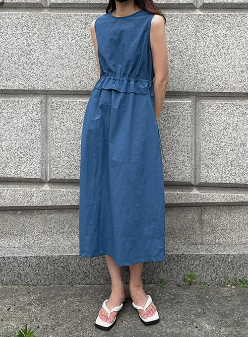 sleeveless waist ruffle Dress