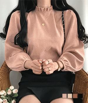 ruffle neck cordew blouse