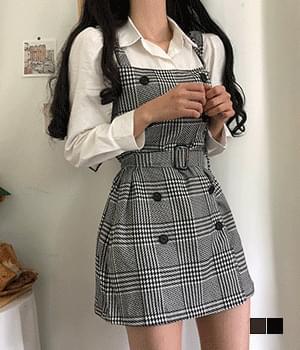 Miyu Check Belt Mini Dress