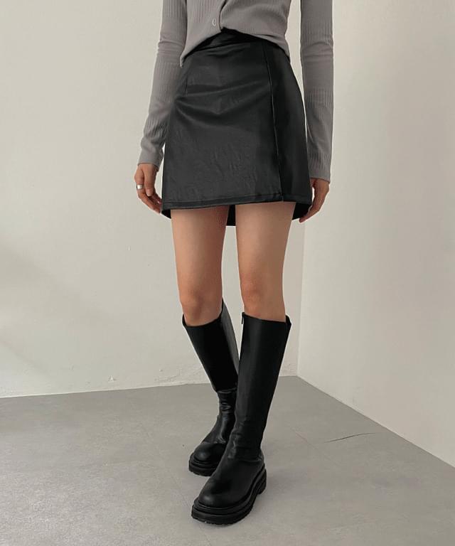 Louette leather slit mini skirt