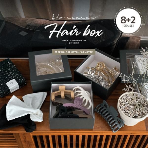 Modern Hair Box Pearl/Matte/Metal Clamp Pin Raised Hair Dango Band Set of 10