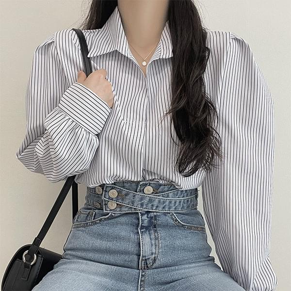 Liz striped puff collar blouse