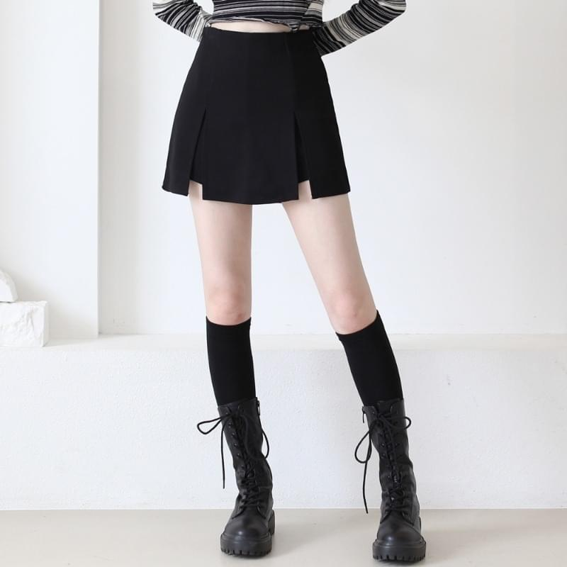 Almond Spandex Mini Skirt Pants