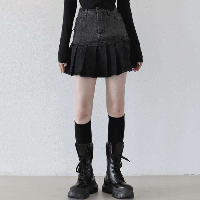Lil Heart Denim Mini Skirt