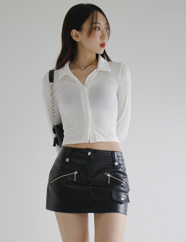 low-waisted leather skirt