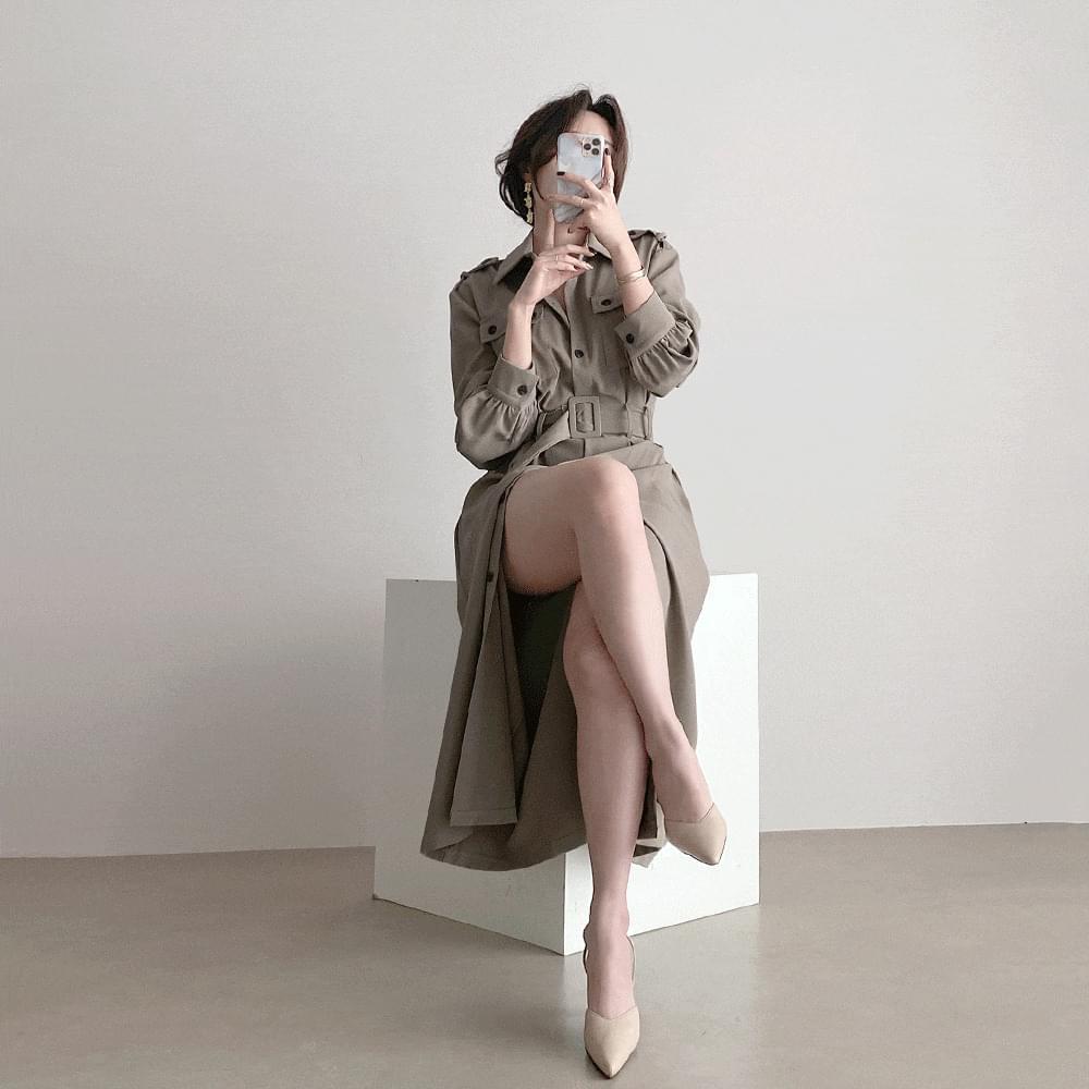slender pocket trench Dress 3color