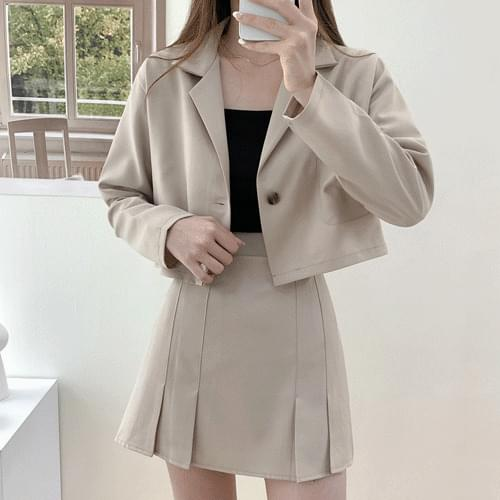 Half-wrinkle banding pleated skirt cropped jacket two-piece set -Skirt only T#YW833