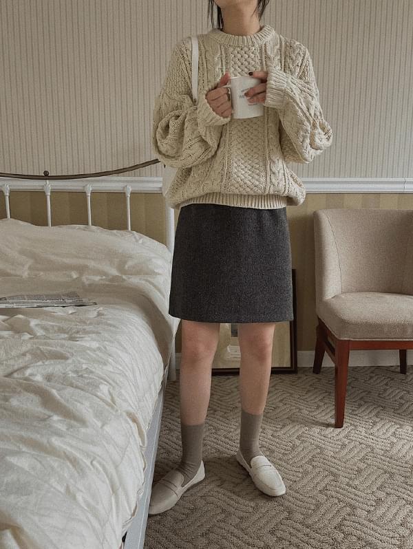 Roselle Half Wool Skirt - 60% wool