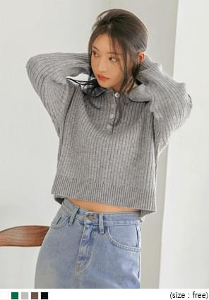 Collared Cropped Knit Top