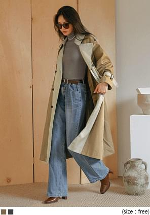 Color Block Double-Breasted Trench Coat
