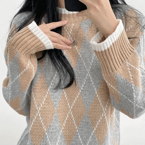 Soso Argyle Round Knitwear
