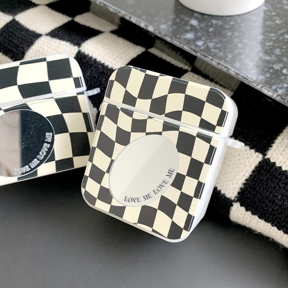 Love Me Checkerboard Mirror Jelly AirPods Case