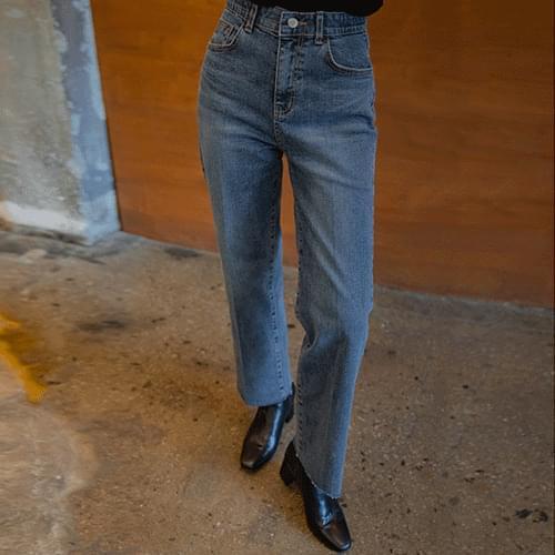 Wind-on leather loom denim pants