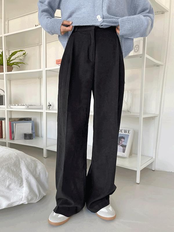 Comfortable back banding high waist wide slacks - 3color