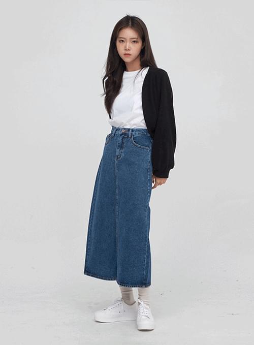 back slit long denim skirt
