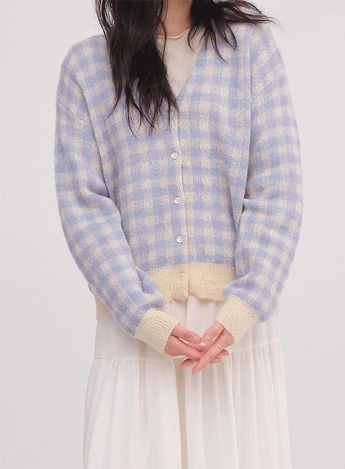 knitwear check cardigan