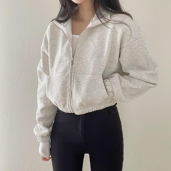 Fleece-lined cropped zip-up