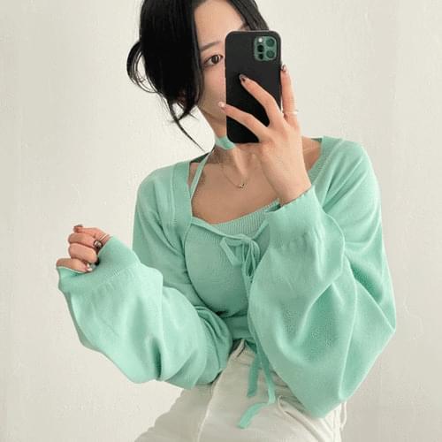 Lulu Teen Bolero Cardigan Top Sleeveless Set 4color