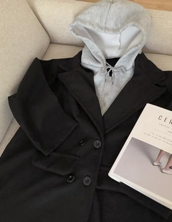 Fleece-lined Hood Double Button Coat