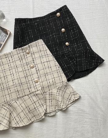 Coco hem frill tweed skirt