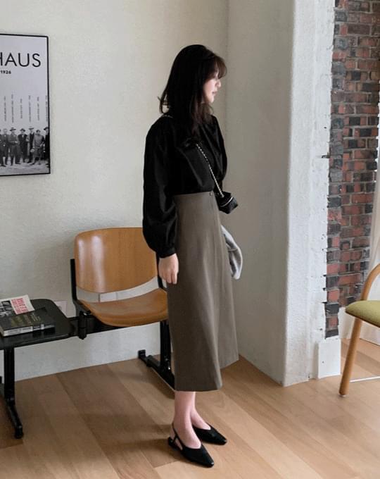 Butterfly H-Line Slit Long Skirt - 3 color