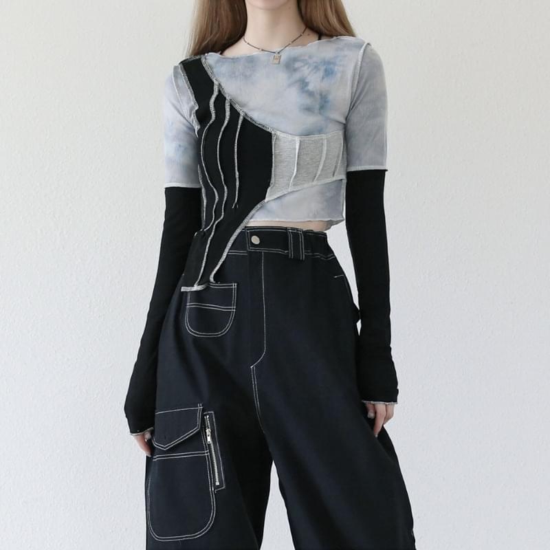 Gash Unbald Layered Crop T-shirt