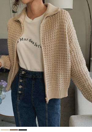 I like it because it's sweet Waffle Knitwear Zip-up