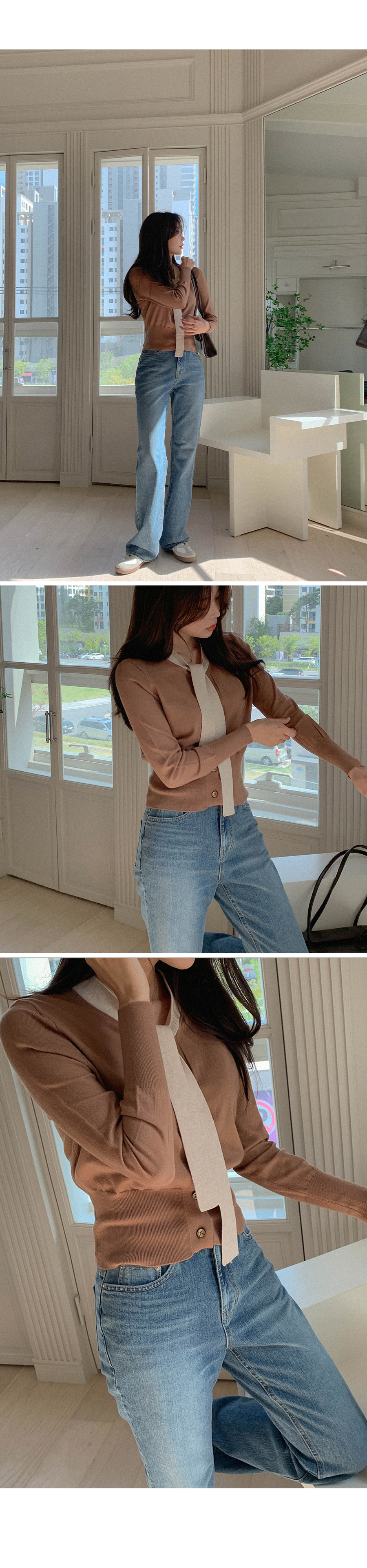 First Love Image Ribbon Blouse Knitwear