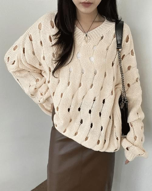 Pulley Punching See-through V- V-Neck Knitwear
