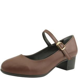 round nose middle heel mary jane shoes brown