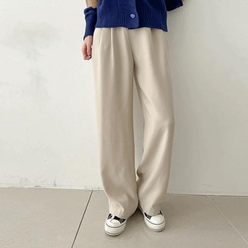 Short two-button pintuck wide slacks 3color