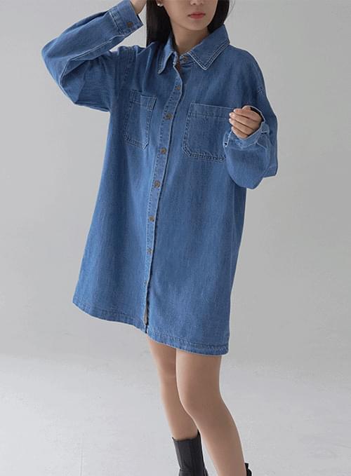 over denim shirt mini Dress