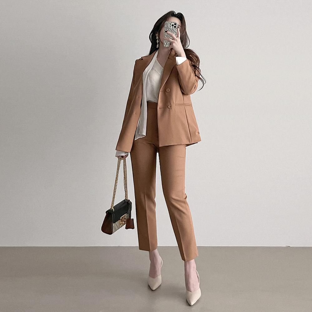 Straight double jacket suit set high waist slacks set 3color
