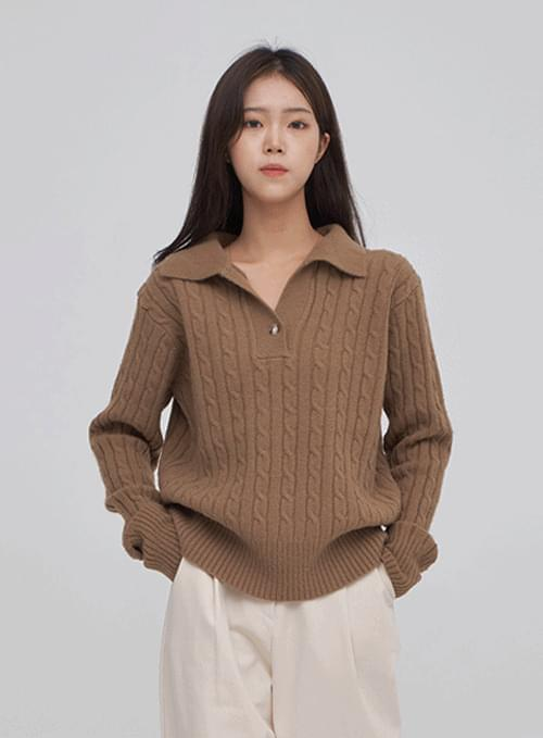 One Button Twisted Collar Knitwear