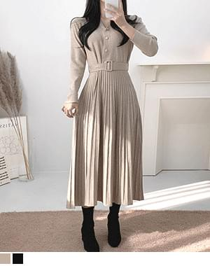 Vita belt pleated long Dress
