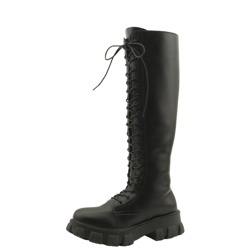 Lace-Up Tall Heeled Walker Long Boots Black