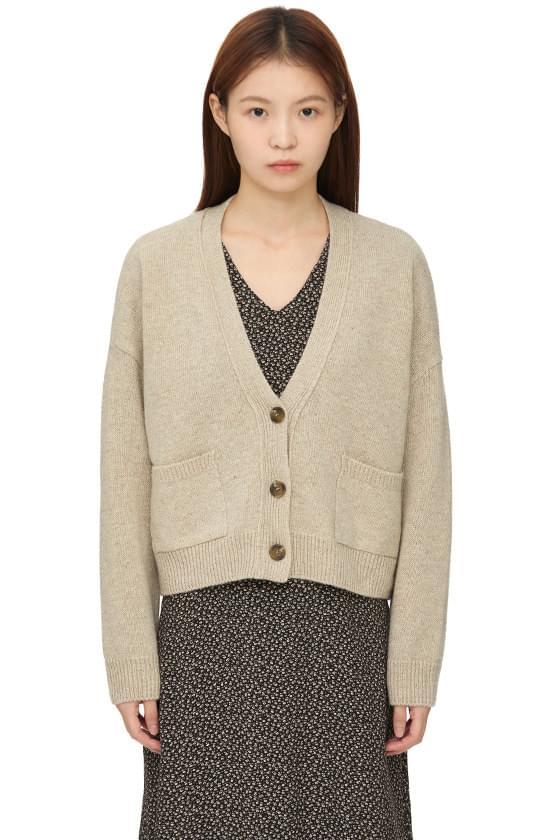 Heat Crop Wool Knitwear V- V-Neck Cardigan